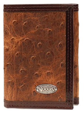 Nocona Ostrich Print Tri-Fold Wallet, Brown, hi-res