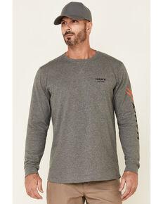 Hawx Men's Charcoal Original Logo Crew Long Sleeve Work T-Shirt , Charcoal, hi-res