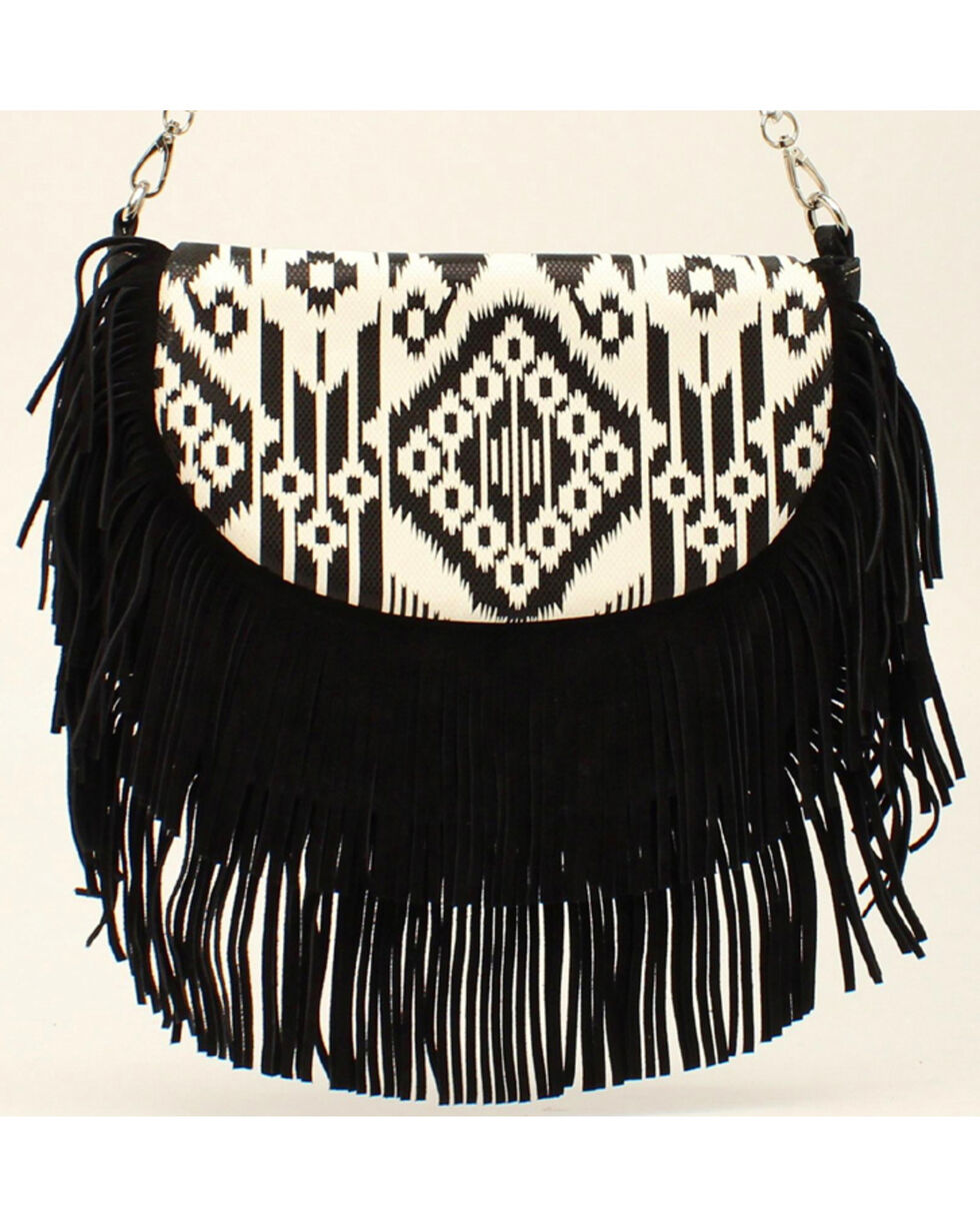 Blazin Roxx Women's Aztec Fringe Shoulder Bag, Blk/white, hi-res