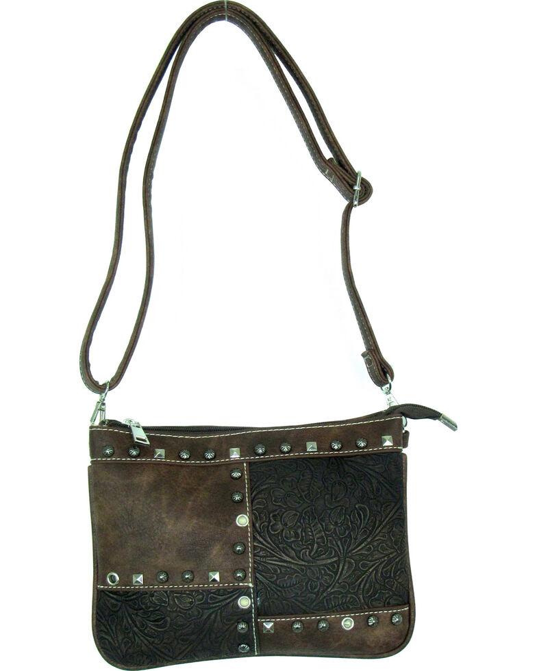 Savana Women's Fuax Leather Patchwork Crossbody Bag , Brown, hi-res