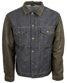 STS Ranchwear Boys' Mustang Leather Denim Jacket , Blue, hi-res