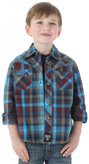 Wrangler Rock 47 Boys' Plaid Shirt with Embroidery, Blue, hi-res