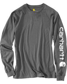 Carhartt Men's Charcoal Graphic Logo Long Sleeve Work T-Shirt , Heather Grey, hi-res