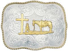 Montana Silversmiths Christian Cowboy Fancy Belt Buckle, Silver, hi-res