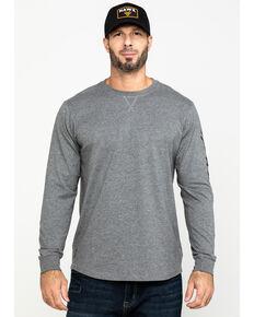 Hawx Men's Grey Logo Sleeve Long Sleeve Work T-Shirt , Heather Grey, hi-res