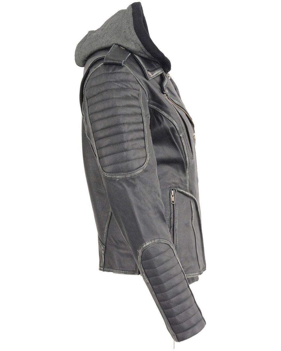 Milwaukee Leather Women's Rub-Off Hoodie Motorcycle Jacket - 4X, Black, hi-res