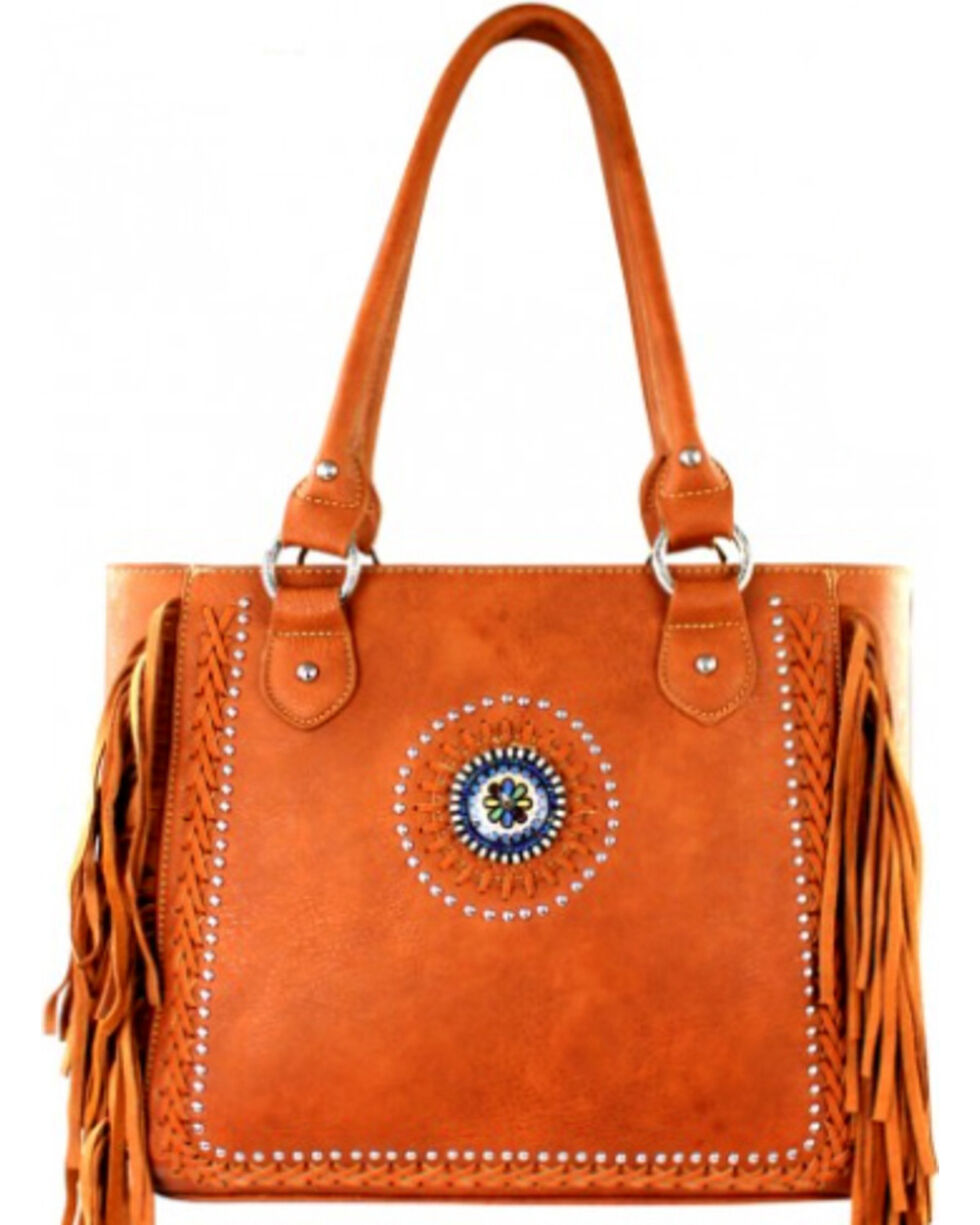 Montana West Brown Fringe Collection Braided Lacing Satchel, Brown, hi-res