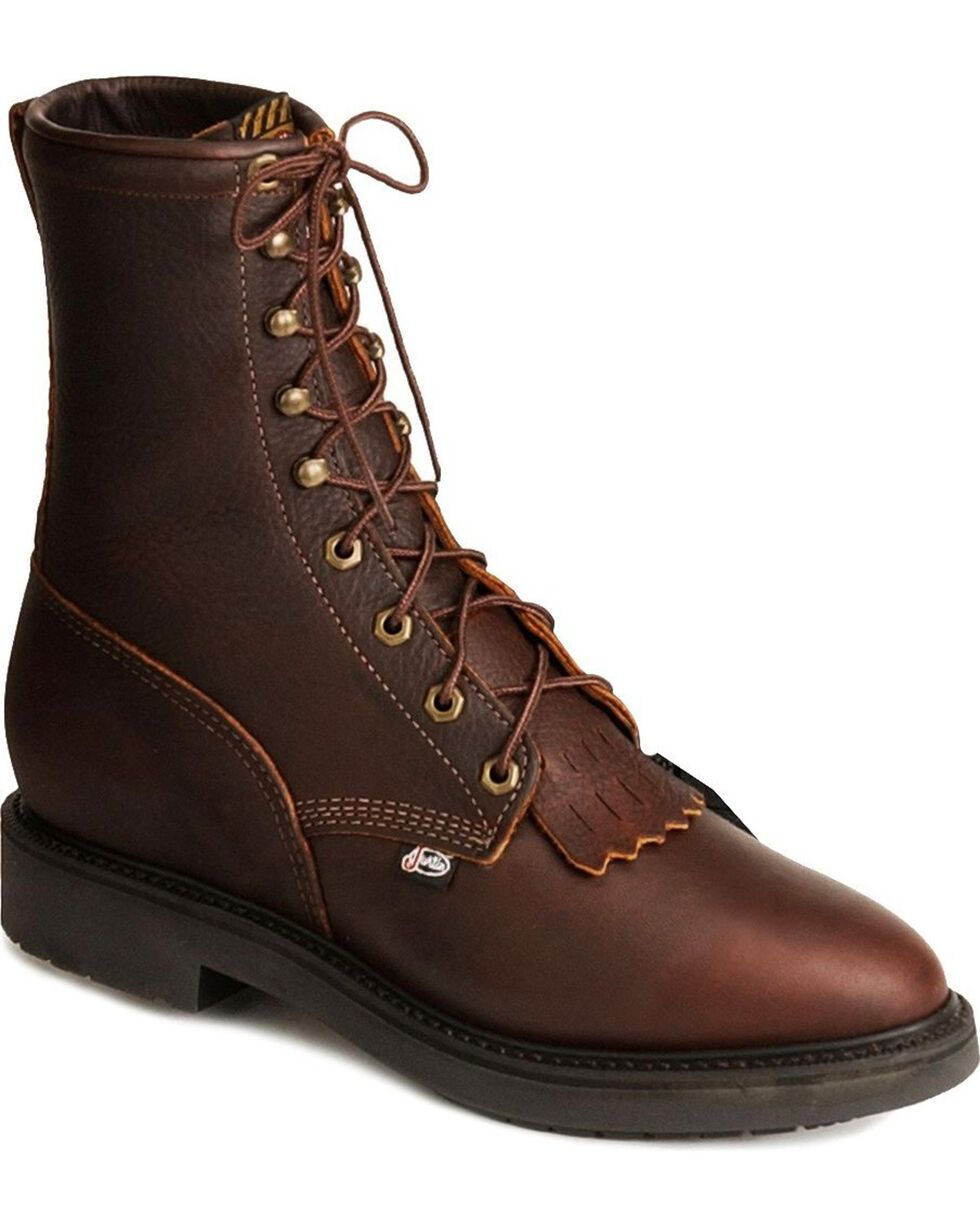 "Justin Men's Conductor 8"" Lace-Up Work Boots - Soft Toe, Tobacco, hi-res"