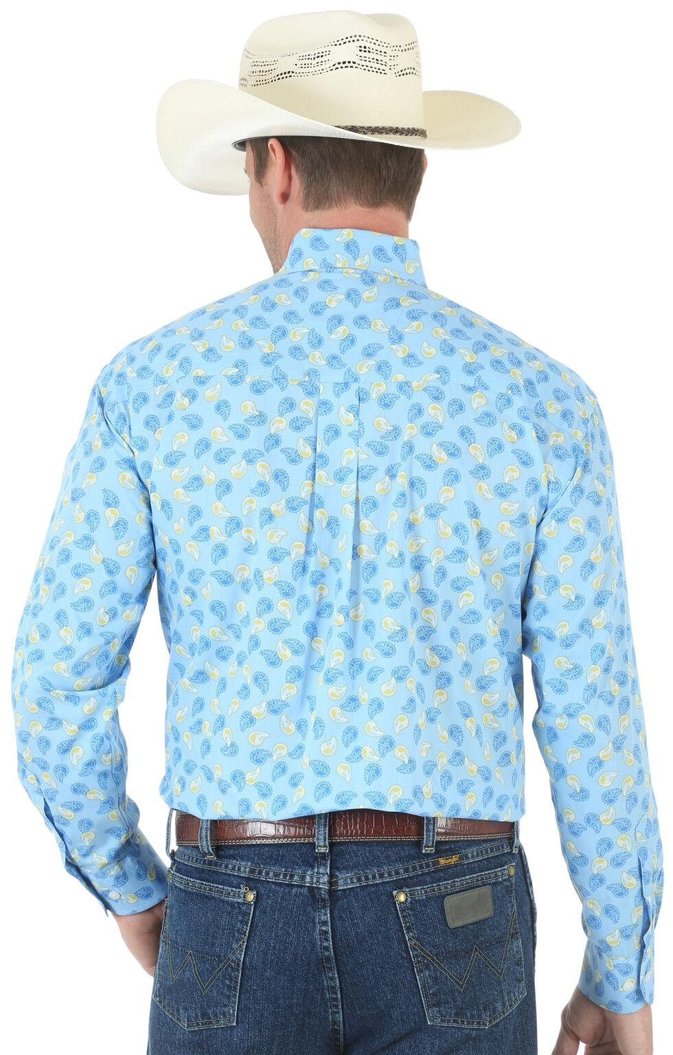 Wrangler George Strait One Pocket Paisley Poplin Shirt, Blue, hi-res