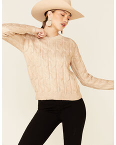 Rock & Roll Denim Women's Gold Metallic Cable Knit Sweater  , Gold, hi-res