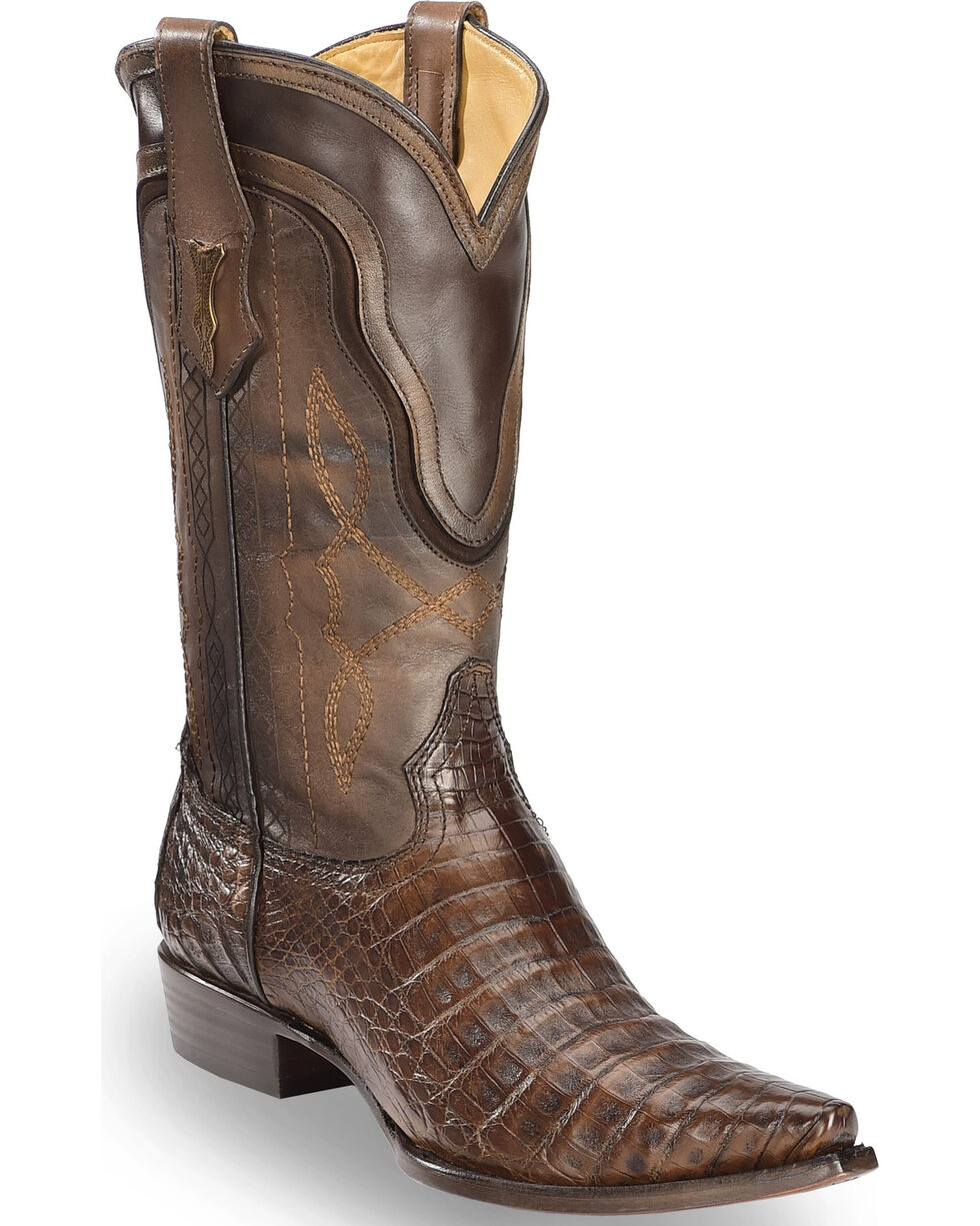 Corral Men's Tobacco Caiman Contrast Collar Cowboy Boots - Snip Toe, Dark Brown, hi-res