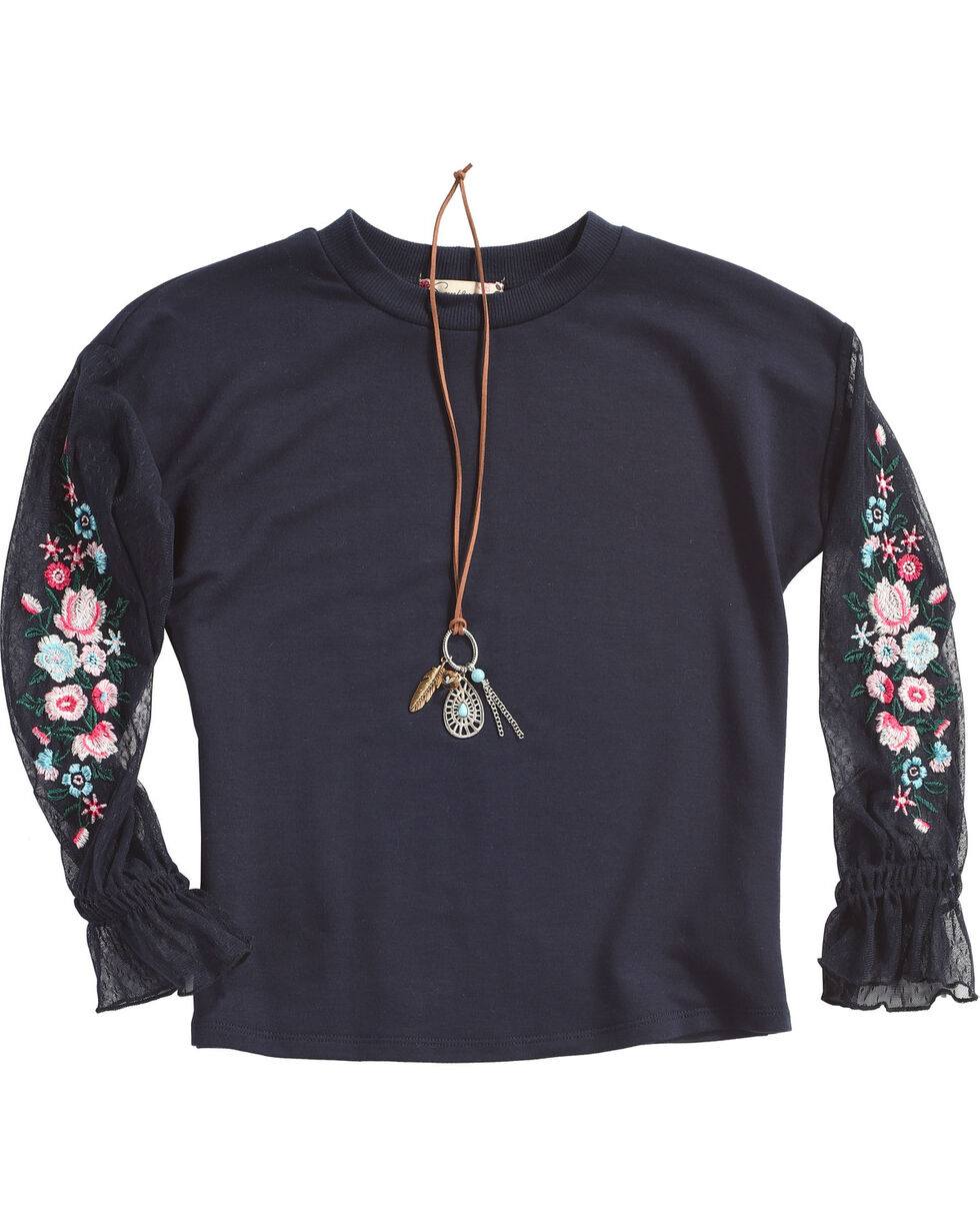 Speechless Girls' Chiffon Embroidered Knit Top With Necklace, Navy, hi-res
