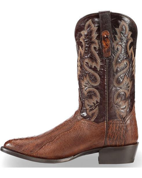 Dan Post Men's Brass Ostrich Leg Cowboy Boots - Round Toe , Dark Brown, hi-res