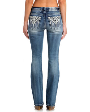Miss Me Women's Western Express Mid-Rise Boot Cut Jeans, Indigo, hi-res