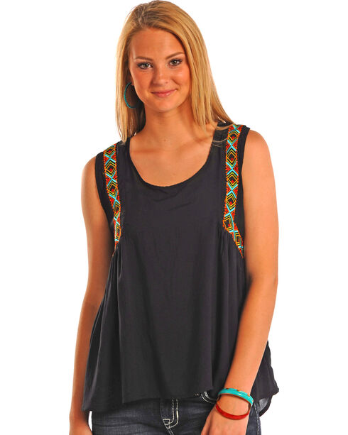 Rock & Roll Cowgirl Women's Hi Lo Tank with Embroidery, Black, hi-res