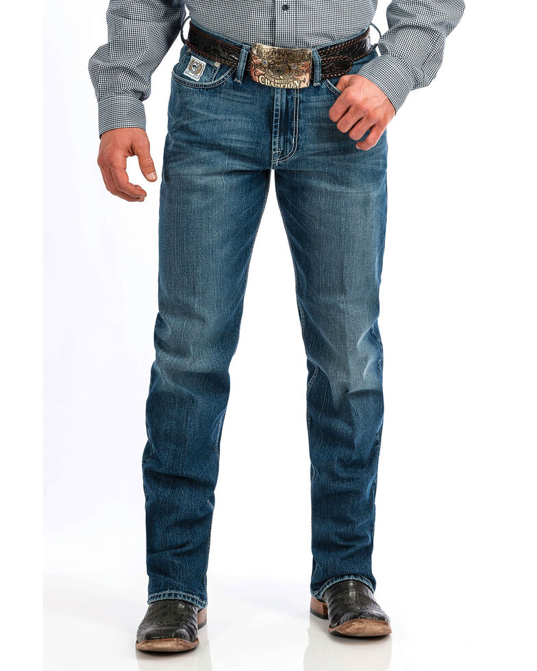 Cinch Men's White Label Medium Stone Mid Straight Jeans , Indigo, hi-res