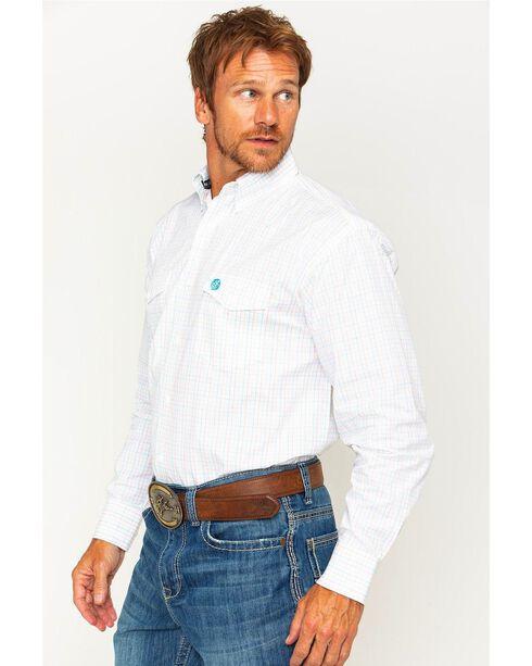 Wrangler Men's George Strait White Plaid Shirt , White, hi-res