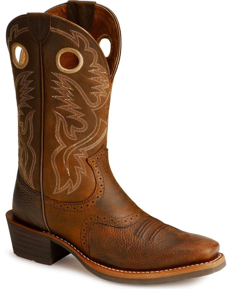 Ariat Men's Heritage Roughstock Western Boots - Narrow Square Toe, Brown, hi-res