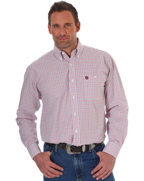Wrangler Men's Red George Strait Plaid Western Shirt , Red, hi-res
