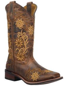Laredo Women's Secret Garden Western Boots - Wide Square Toe, Brown, hi-res