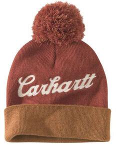 Carhartt Women's Chainstitch Lookout Pom Work Hat , Brown, hi-res