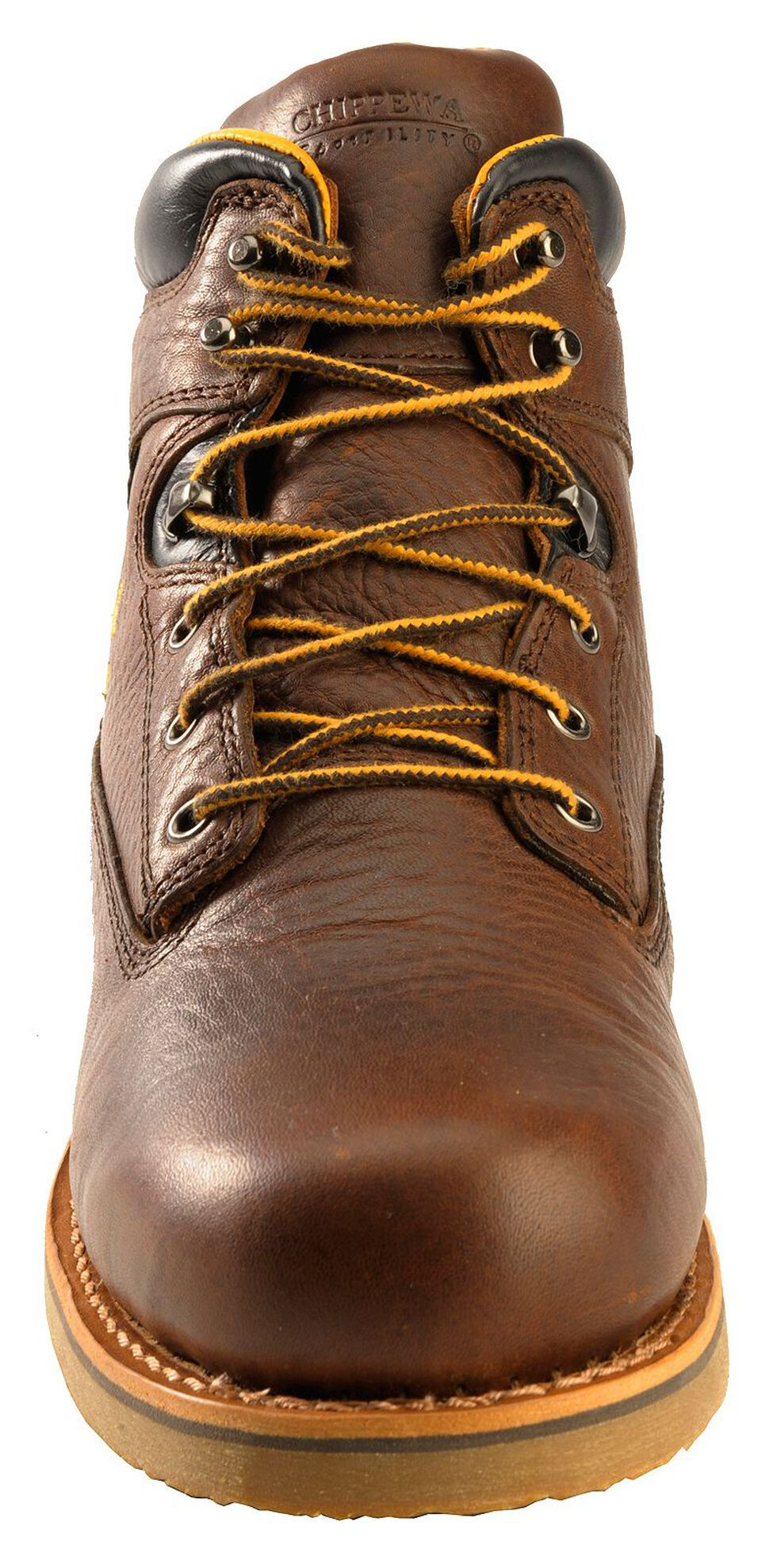 "Chippewa Waterproof & Insulated 6"" Lace-Up Work Boots - Round Toe, Brown, hi-res"