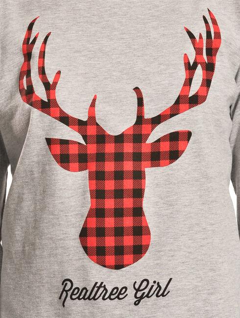 Realtree Girl Grey Deer Antler Long Sleeve T-Shirt, Charcoal Grey, hi-res