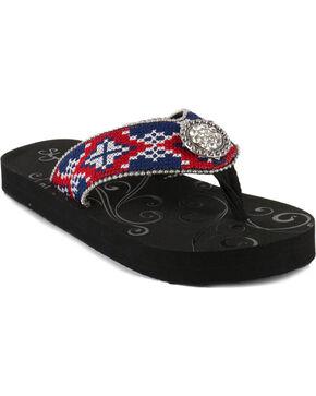 Shyanne® Women's Aztec Concho Sandals, Black, hi-res