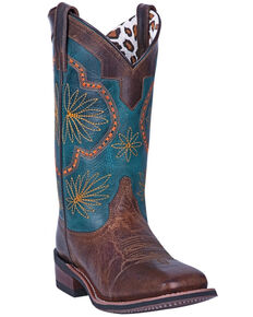 Laredo Women's Forget Me Not Western Boots - Wide Square Toe, Tan, hi-res