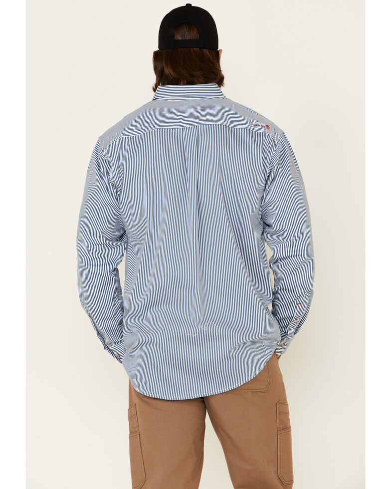 Ariat Men's FR Striped Long Sleeve Button Work Shirt, Blue, hi-res