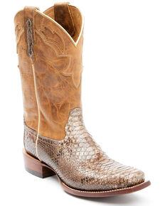 Moonshine Spirit Men's Morgan Exotic Python Leather Western Boots - Square Toe, Brown, hi-res