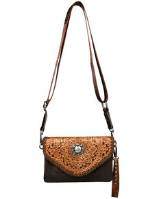Montana West Women's Rory Tooled Crossbody Bag, Coffee, hi-res