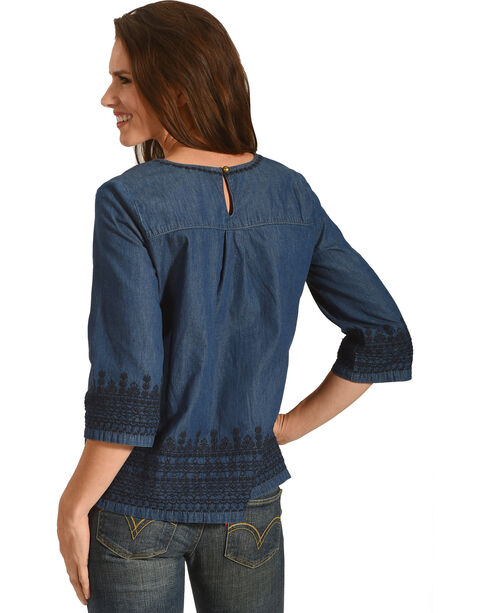 Angel Premium Women's Denim Kelly Anne Top, Indigo, hi-res