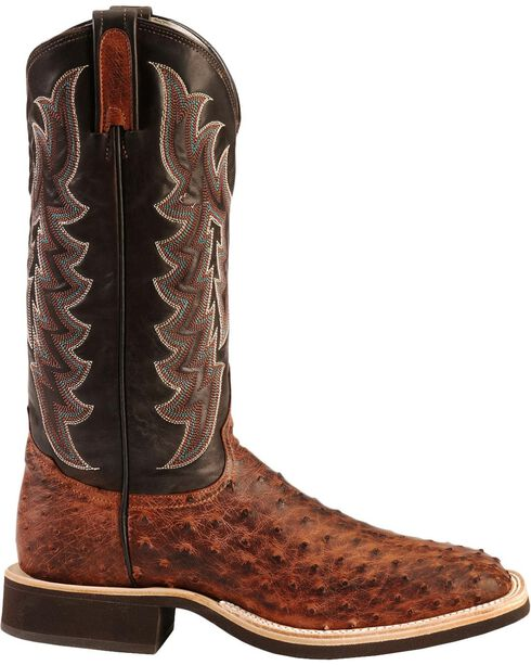 Tony Lama Vintage Full Quill Ostrich Crepe Cowboy Boots - Wide Square Toe, Almond, hi-res