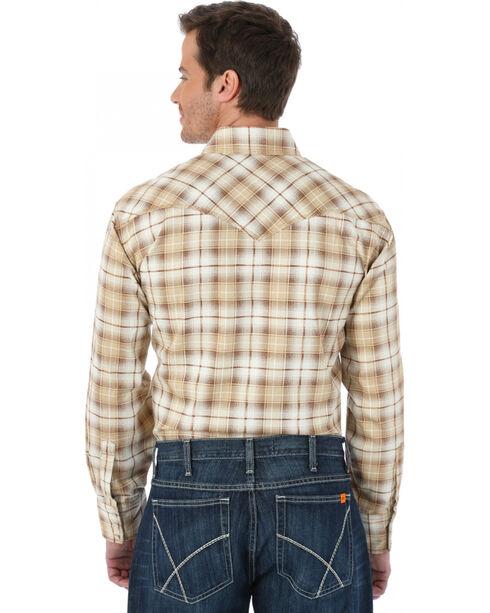 Wrangler Western Khaki Plaid Flame Resistant Work Shirt, Khaki, hi-res