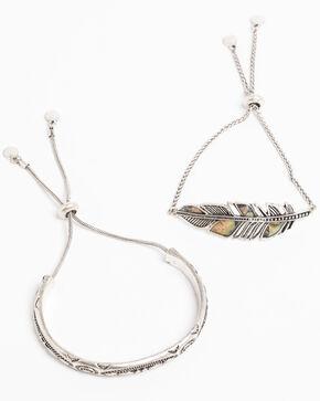 Shyanne Women's Bella Feather Abalone Bracelet Set, Silver, hi-res