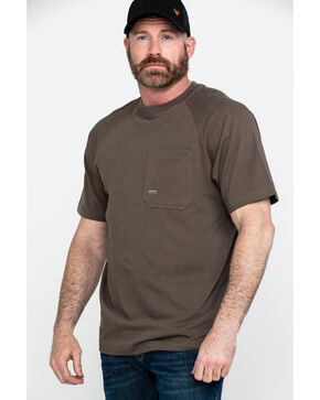 Ariat Men's Brown Rebar Cotton Strong Short Sleeve Crew Work Shirt , Brown, hi-res