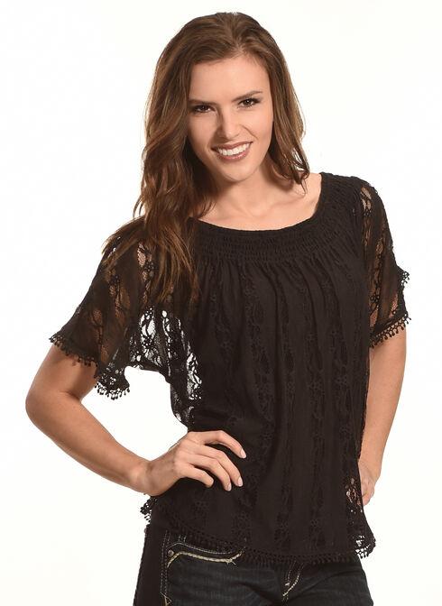 Tantrums Women's Black Lace Peasant Top, Black, hi-res