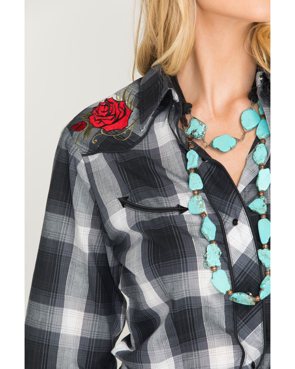 Roper Women's Plaid Embroidered Western Snap Shirt, Black, hi-res