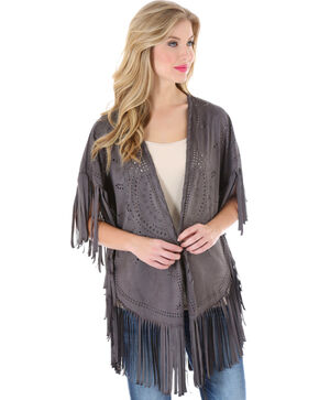 Wrangler Rock 47 Women's Faux Suede Laser Cut Kimono, Grey, hi-res