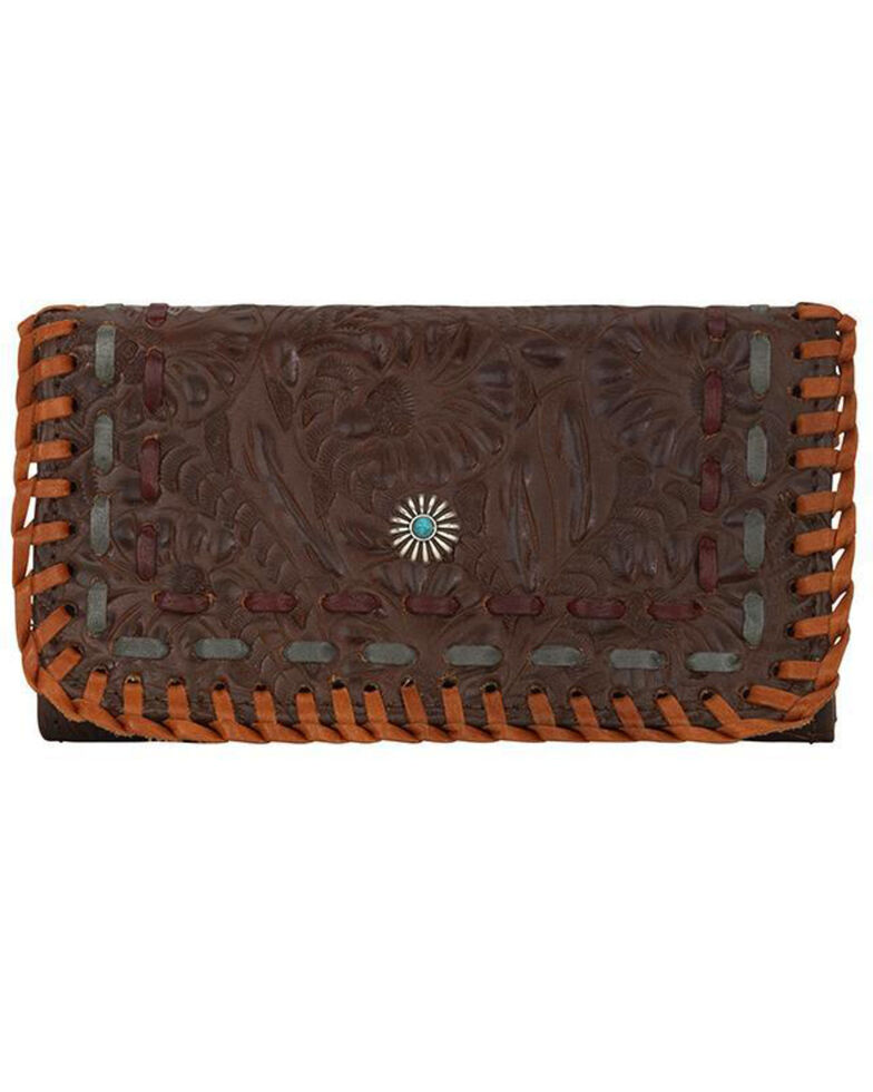 American West Women's Melissa Collection Tooled Tri-Fold Wallet, Chestnut, hi-res