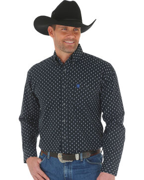 Wrangler Men's George Strait Printed Poplin Shirt , White, hi-res