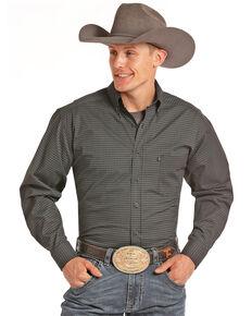 Tuf Cooper Men's Black Geo Print Long Sleeve Shirt, Black, hi-res
