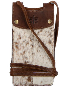 STS Ranchwear Women's Cowhide Cell Phone Crossbody, Distressed Brown, hi-res