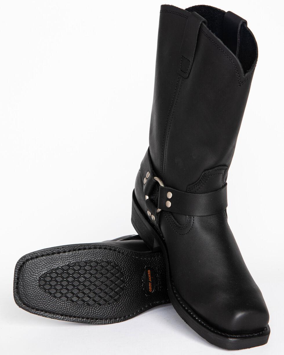Cody James Men's Black Harness Boots - Square Toe, Black, hi-res