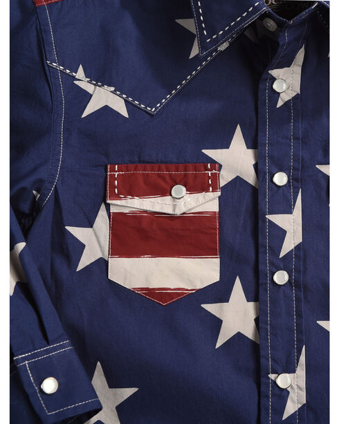 Rock & Roll Cowboy Boys' Stars and Stripes Print Snap Shirt, Red, hi-res