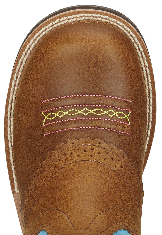 Ariat Youth Girls' Fatbaby Cowgirl Boots - Round Toe, Tan, hi-res