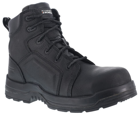 """Rockport Works Women's More Energy Waterproof 6"""" Lace-Up Work Boots - Composition Toe, Black, hi-res"""