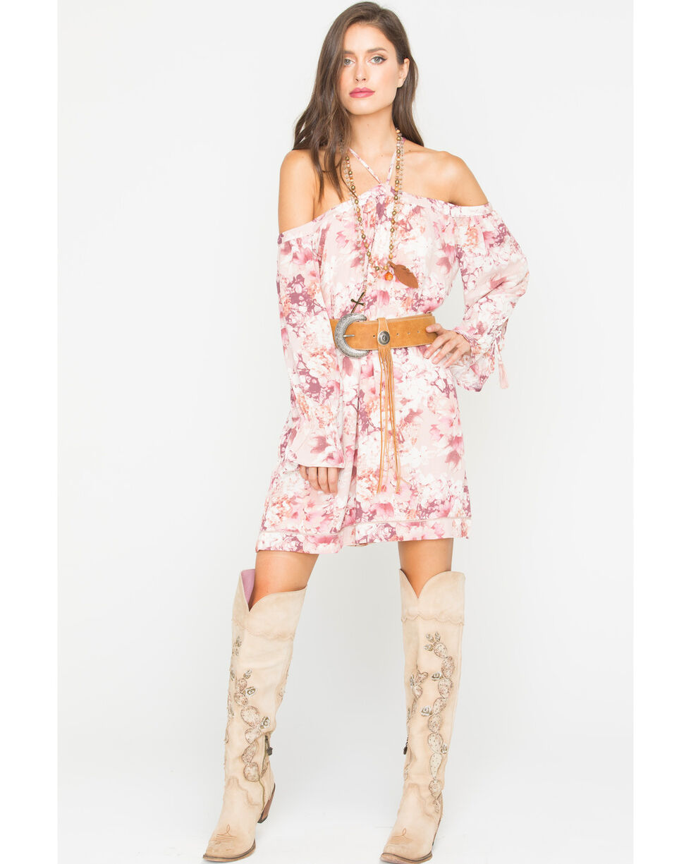 Miss Me Women's Pink Prized Possession Halter Dress , Light Pink, hi-res