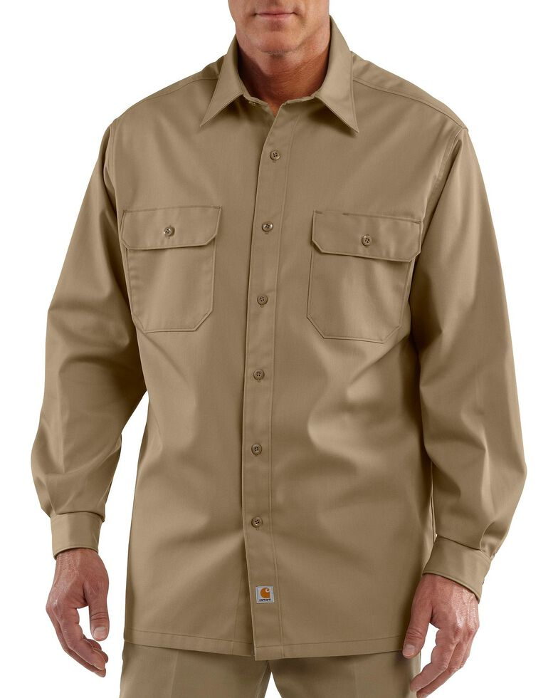 Carhartt Twill Button Work Shirt - Tall, Khaki, hi-res